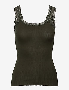 Silk top w/lace - Ærmeløse bluser - black green