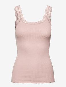 Silk top w/lace - blouses zonder mouwen - vintage powder