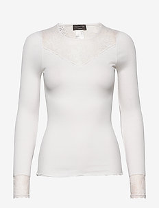 Silk t-shirt regular ls w/ lace - topy z długimi rękawami - new white