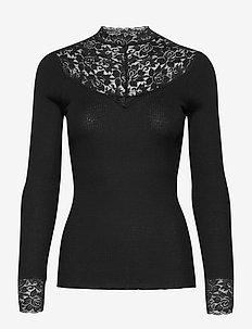 Silk t-shirt turtleneck w/ lace - langermede topper - black