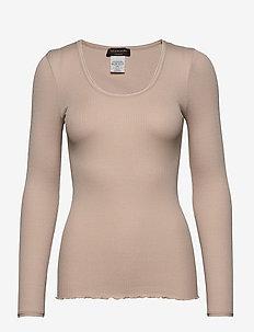 Silk t-shirt regular length w/ elas - langermede topper - cacao