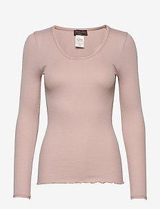 Silk t-shirt regular length w/ elas - tops met lange mouwen - vintage powder