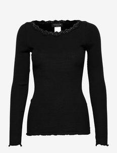 Organic t-shirt w/lace - topy z długimi rękawami - black