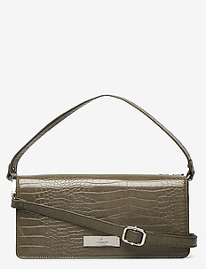 Bag small - skuldervesker - dark olive croc silver