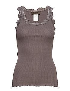 Silk top regular w/vintage lace - EIFFEL TOWER