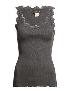 Silk top regular w/vintage lace - ermeløse topper - dark grey melange