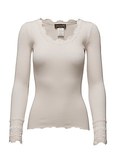 Silk t-shirt regular ls w/wide lace - SOFT POWDER