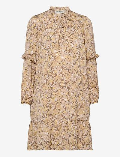 Recycle polyester dress ls - summer dresses - sand flower garden print
