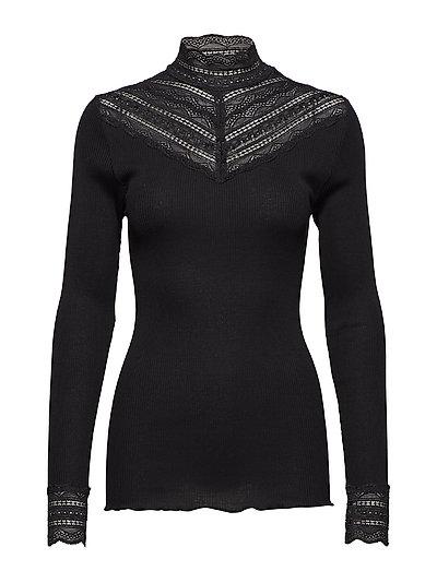 Silk t-shirt regular ls w/wide lace - BLACK