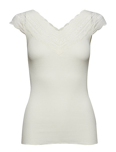 Silk t-shirt regular ss w/wide lace - IVORY