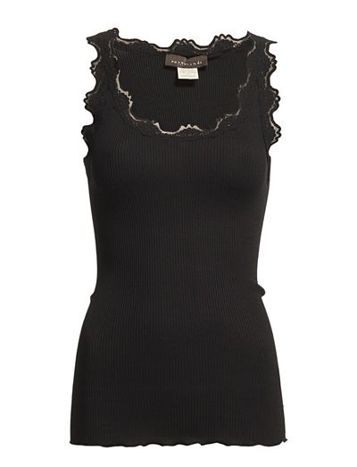 Silk top regular w/vintage lace - BLACK