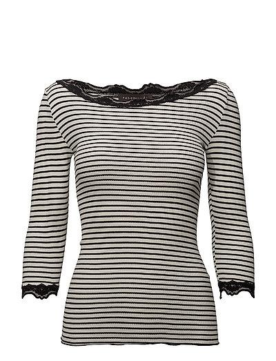Silk t-shirt boat neck regular w/vi - IVORY BLACK STRIPE