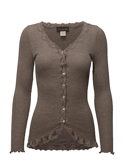 Silk cardigan regular ls w/rev vint - BROWN MELANGE