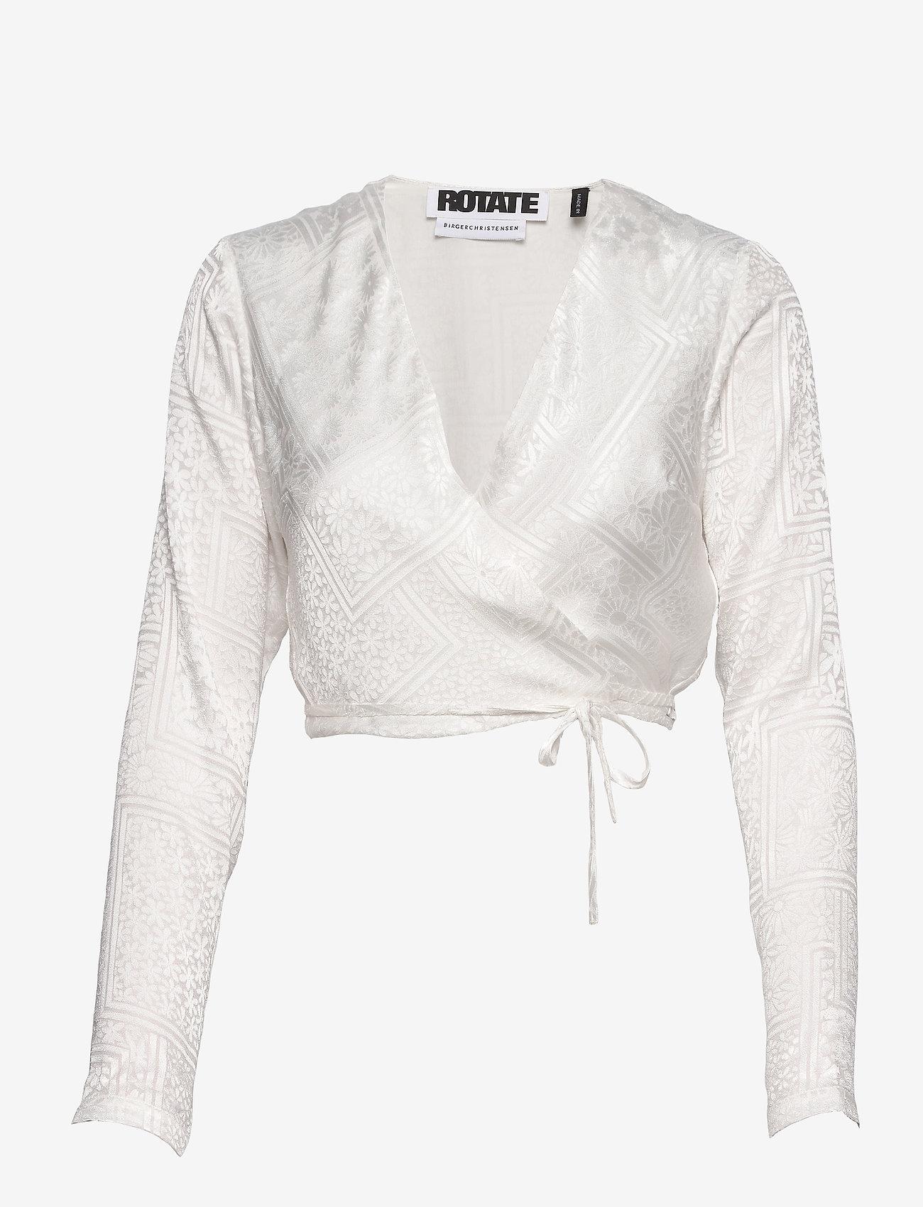 ROTATE Birger Christensen - Jeanette Wrap Top - langærmede bluser - bright white - 0