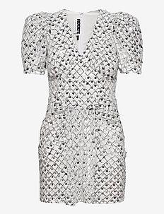 Alma Short Dress - pailletkjoler - silver