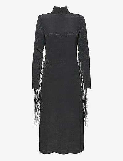 Reba Fringe Dress - midi dresses - black