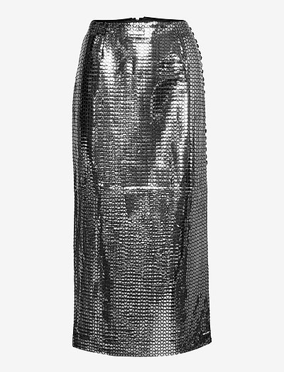 Caitlin Skirt - midi skirts - black silver