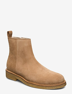 Bond Crepe Suede Ankle Boot - CAMEL