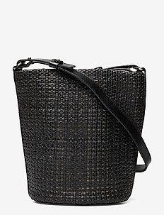 Aria Braided Bucket Bag - bucket bags - black