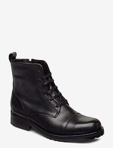Ave Lace Up Boot - Black - flat ankle boots - black