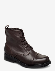 Ave Lace Up Boot - Black - platta ankelboots - brown