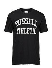 RU S/S CREW NECK  TEE WITH LOGO PRINT - BLACK