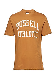 RU S/S CREW NECK  TEE WITH LOGO PRINT - BONE BROWN