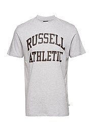 RU S/S CREW NECK  TEE WITH LOGO PRINT - BRIGHT GREY MARL