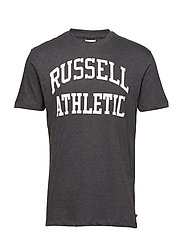 RU S/S CREW NECK  TEE WITH LOGO PRINT - WINTER CHARCOAL MARL