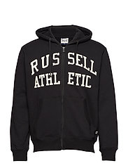 RU ZIP THROUGH TACKLE TWILL HOODY - BLACK