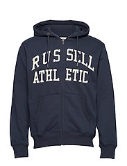 RU ZIP THROUGH TACKLE TWILL HOODY - NAVY