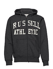 RU ZIP THROUGH TACKLE TWILL HOODY - WINTER CHARCOAL MARL