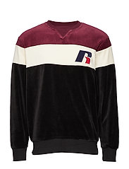 RU CREW NECK SWEATSHIRT WITH 'R' APPLIQUE - BLACK