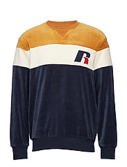 RU CREW NECK SWEATSHIRT WITH 'R' APPLIQUE - NAVY