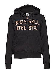 RU ZIP THROUGH LOGO HOODY - BLACK