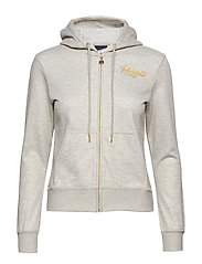 RU ZIP THROUGH HOODY - BRIGHT GREY MARL