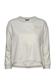RU BOXY FIT CREW NECK SWEATSHIRT - BRIGHT GREY MARL