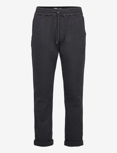 Loose trousers in textured fabric - casual broeken - black