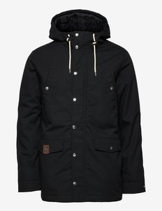 Parka jacket with silver snaps - parkas - black