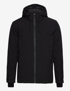 Short parka jacket with contrast zippers - parki - black