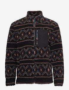 Short allover printed fleece jacket - teddy-truien - black