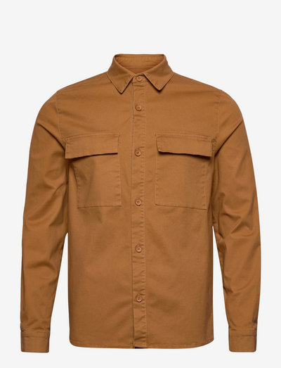 Checked utility shirt with logo embroidery - linneskjortor - brown