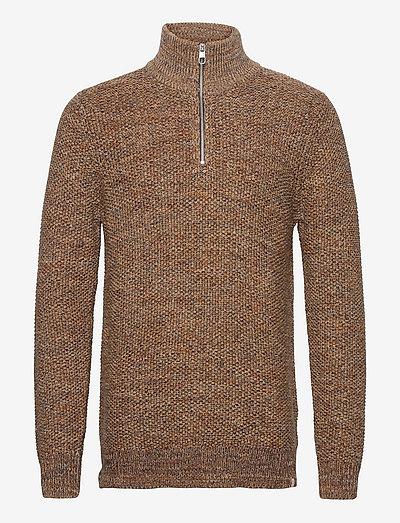 Half-zip sweater in multi color - pulls demi-zip - brown