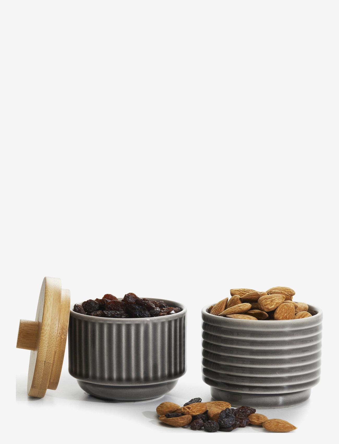 Sagaform - COFFEE & MORE, serving bowls with bambo lid 2-pack - tarjoilukulhot - grey - 0