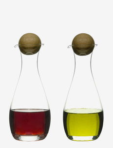 Nature Oil/vinegar bottles oak stoppers, 2-pack - Öljy-, viinietikka- & kastikepullot - clear