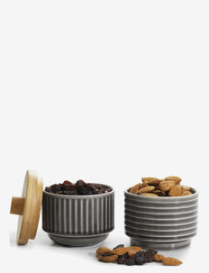 COFFEE & MORE, serving bowls with bambo lid 2-pack - serveringsskåler - grey