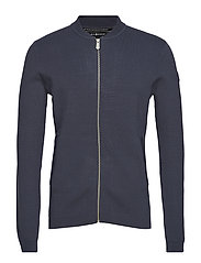 RACE KNITTED BOMBER - STEEL BLUE