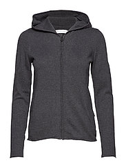 W RACE KNITTED ZIP HOOD - CARBON MELANGE