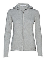 W RACE KNITTED ZIP HOOD - GREY MELANGE