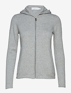 W RACE KNITTED ZIP HOOD - hoodies - grey melange